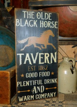THE OLDE BLACK HORSE TAVERN PRIMITIVE SIGN SIGNS