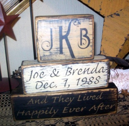 #2802 CUSTOM INITIALS, NAMES & DATE AND THEY LIVED HAPPILY EVER AFTER PRIMITVE BLOCK SIGN SIGNS