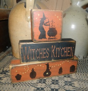 WITCHES KITCHEN PRIMITIVE BLOCK SIGN SIGNS
