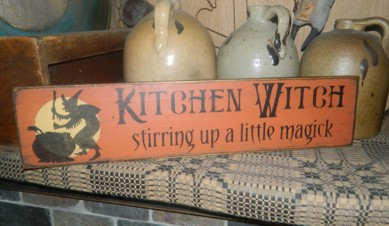 KITCHEN WITCH STIRRING UP A LITTLE MAGICK PRIMITIVE SIGN SIGNS