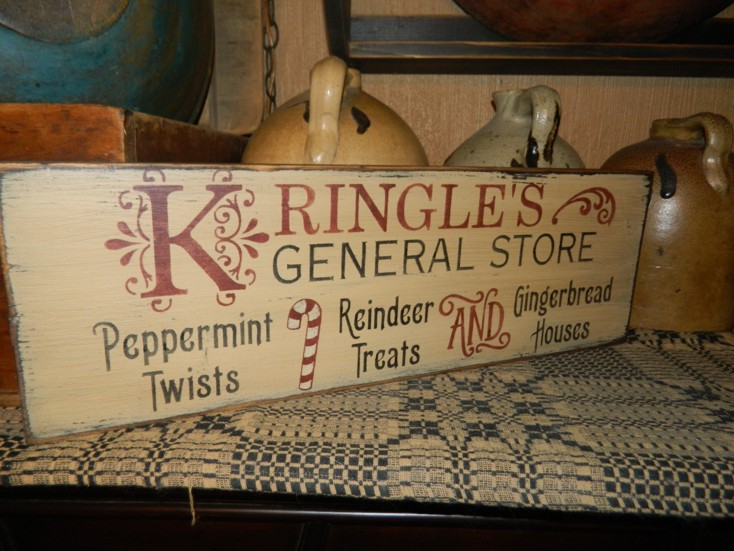 KRINGLE'S GENERAL STORE PRIMITIVE CHRISTMAS SIGN SIGNS
