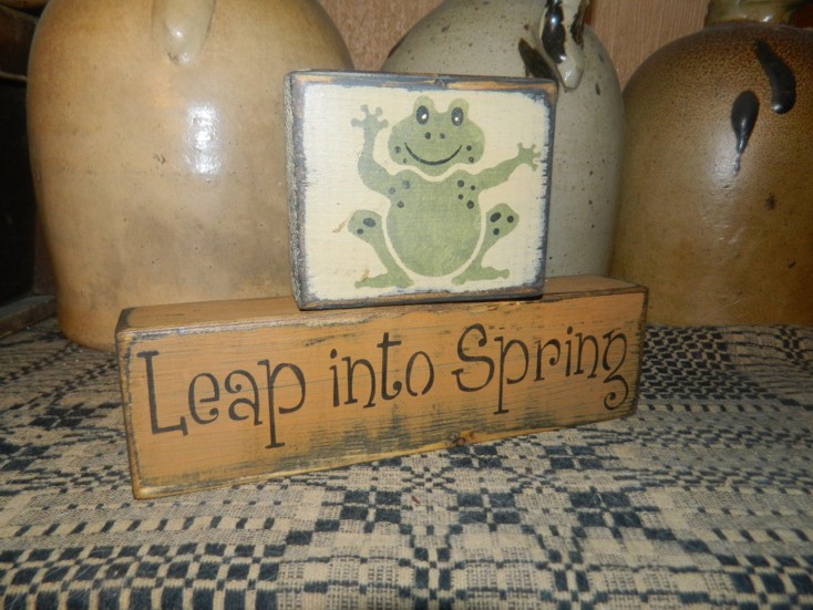 LEAP INTO SPRING PRIMITIVE BLOCK SIGN SIGNS
