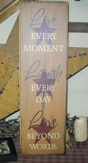 LIVE...LOVE...LAUGH WITH STARS PRIMITIVE SIGN SIGNS