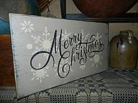 #19000 MERRY CHRISTMAS PRIMITIVE SNOWFLAKES SIGN SIGNS