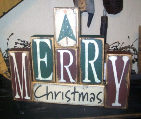 MERRY CHRISTMAS TREE SANTA PRIMITIVE BLOCK SIGN SIGNS