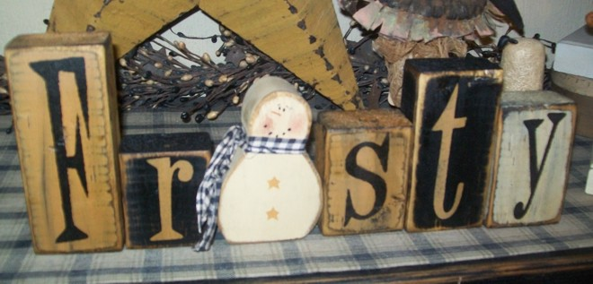 FROSTY  SNOWMAN PRIMITIVE BLOCK SIGN SIGNS
