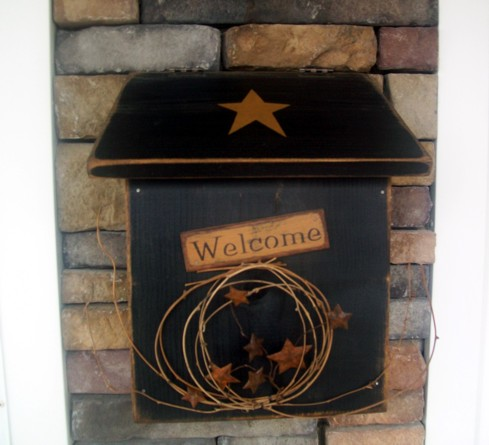 PRIMITIVE POST MAILBOX MAIL BOX BLACK