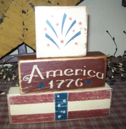 AMERICA 1776 PRIMITIVE BLOCK SIGN SIGNS