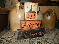 HAPPY HALLOWEEN JACK O' LANTERN PRIMITIVE BLOCK SIGN SIGNS
