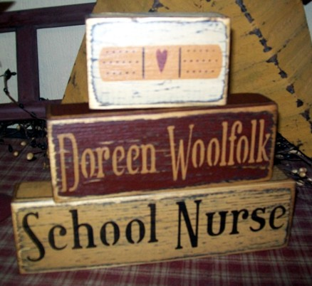 SCHOOL NURSE PRIMITIVE CUSTOM BLOCK SIGN SIGNS