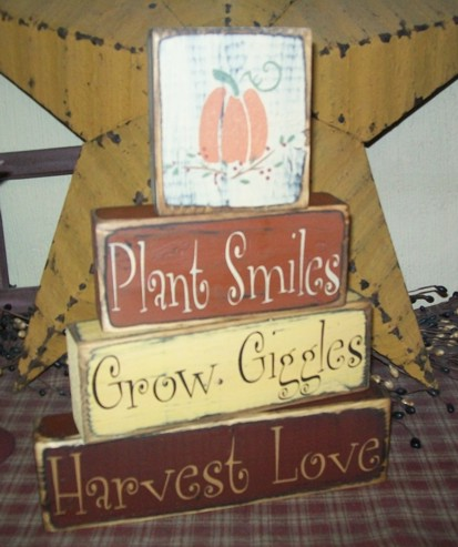 PLANT SMILES GROW GIGGLES HARVEST LOVE PRIMITIVE BLOCK SIGN SIGNS