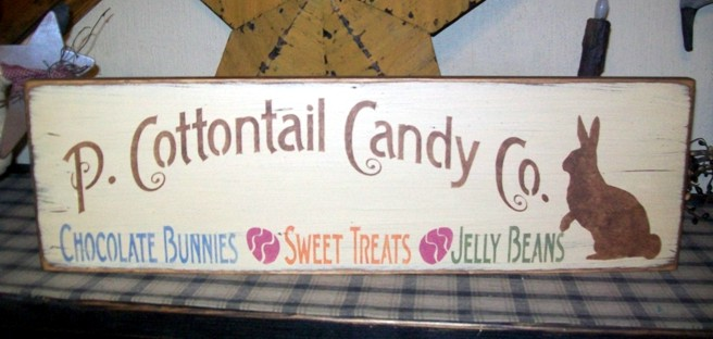 P. COTTONTAIL CANDY CO. PRIMITIVE SIGN SIGNS