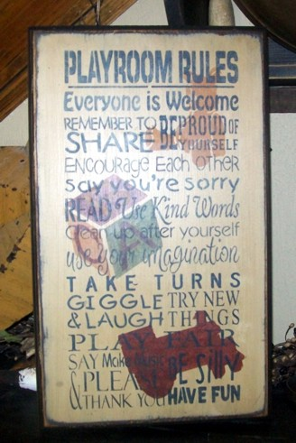 PLAYROOM RULES TYPOGRAPHY   PRIMITIVE SIGN SIGNS