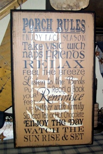 PORCH RULES PRIMITIVE SIGN SIGNS