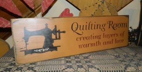QUILTING ROOM PRIMITIVE SIGN SIGNS