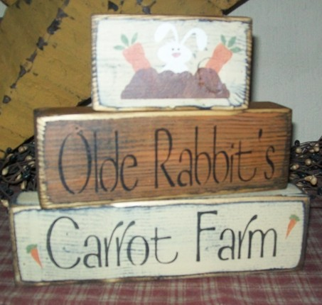 OLDE RABBIT'S CARROT FARM PRIMITIVE EASTER BLOCK SIGN SIGNS