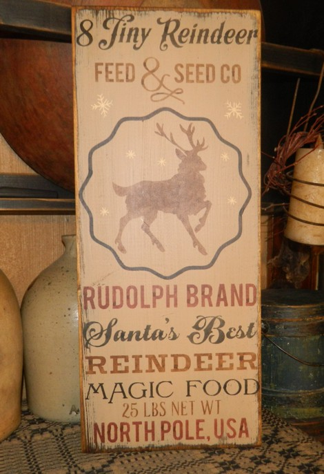 REINDEER FEED AND SEED CO PRIMITIVE CHRISTMAS SIGN SIGNS