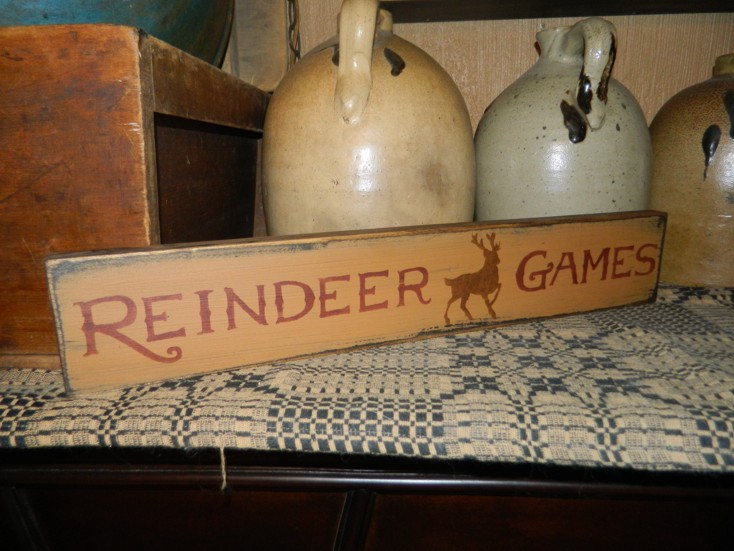 REINDEER GAMES PRIMITIVE CHRISTMAS SIGN SIGNS
