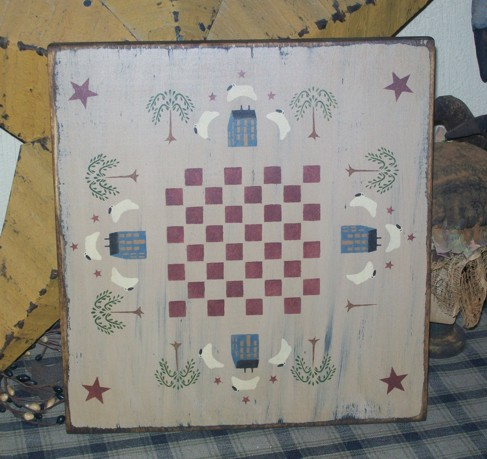 SALTBOX HOUSE STAR SHEEP PRIMITIVE GAME BOARD SIGN SIGNS