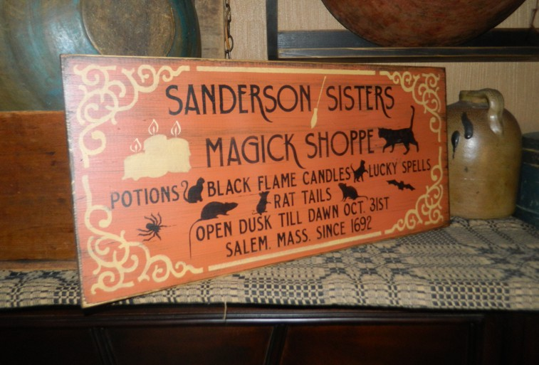 SANDERSON SISTERS WITCH PRIMITIVE HALLOWEEN SIGN SIGNS