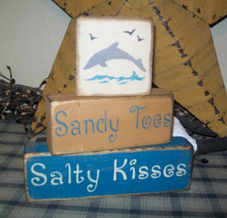 SANDY TOES SALTY KISSES PRIMITIVE BLOCK SIGN SIGNS