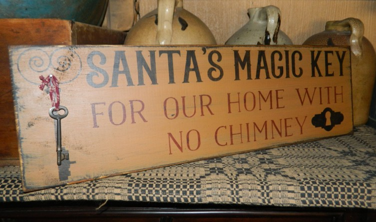 SANTA'S MAGIC KEY PRIMITIVE SIGN SIGNS