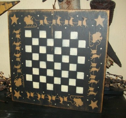 SANTA SLEIGH GAMEBOARD PRIMITIVE CHRISTMAS SIGN SIGNS