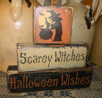 SCAREY WITCHES HALLOWEEN WISHES PRIMITIVE FALL BLOCK SIGNS SIGNS