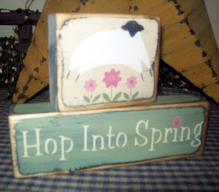 HOP INTO SPRING PRIMITIVE BLOCK SIGN SIGNS
