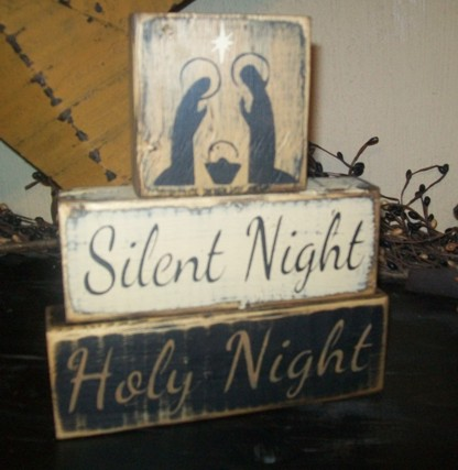 #2823 SILENT NIGHT HOLY NIGHT PRIMITIVE WINTER BLOCK SIGN SIGNS