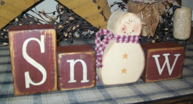 SNOW  SNOWMAN PRIMITIVE WINTER BLOCK SIGN SIGNS