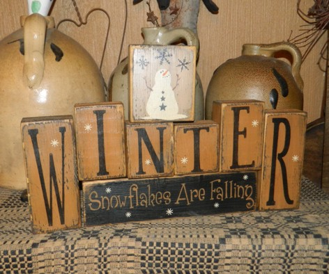 #3998 WINTER SNOWFLAKES ARE FALLING PRIMITIVE SIGN SIGNS