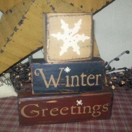 WINTER GREETINGS PRIMITIVE BLOCK SIGN SIGNS