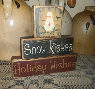 SNOW KISSES HOLIDAY WISHES PRIMITIVE BLOCK SIGN SIGNS