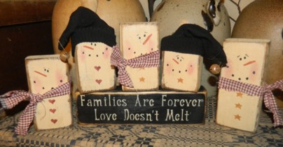 SNOWMAN FAMILY FAMILIES ARE FOREVER....MELT PRIMITIVE WINTER BLOCK SIGN SIGNS