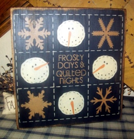 QUILT SNOWMAN PRIMITIVE SIGN SIGNS