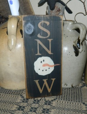 SNOW SNOWMEN PRIMITIVE SIGN SIGNS