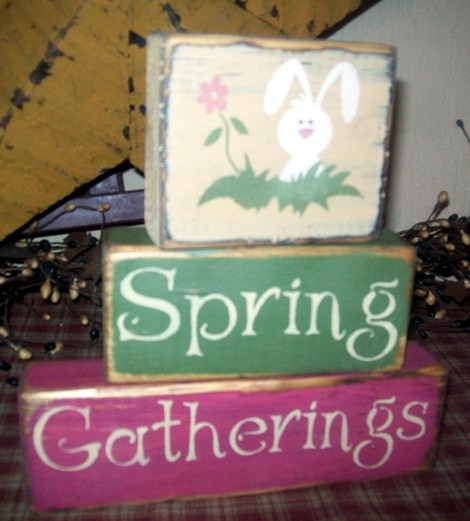 SPRING GATHERINGS PRIMITIVE BLOCK SIGN SIGNS