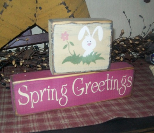 SPRING GREETINGS PRIMITIVE BLOCK SIGN SIGNS