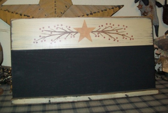 STAR BERRY AND VINE CHALKBOARD PRIMITIVE SIGN SIGNS