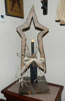 PRIMITIVE STAR TABLE TOP CANDLE LIGHT