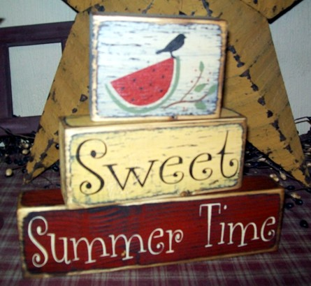 SWEET SUMMER TIME PRIMITIVE BLOCK SIGN SIGNS