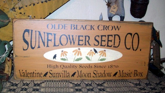 BLACK CROW SUNFLOWER SEED CO PRIMITIVE SIGNS SIGN
