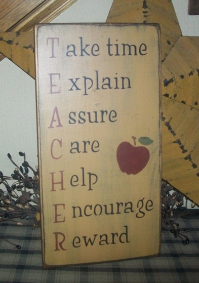 TEACHER APPLE PRIMITIVE SIGN SIGNS