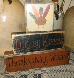 TURKEY KISSES THANKSGIVING WISHES PRIMITIVE FALL BLOCK SIGNS SIGNS