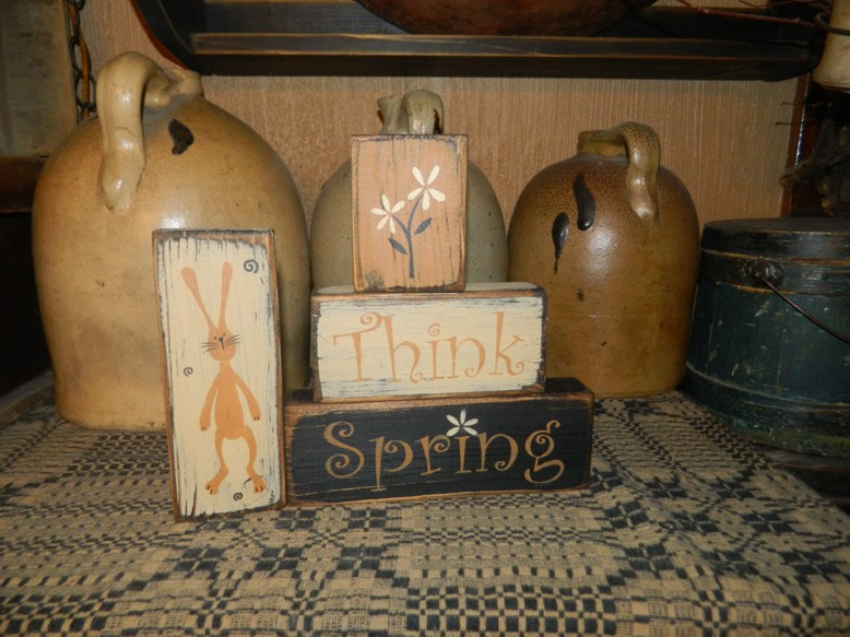 THINK SPRING FLOWER BUNNY PRIMITIVE BLOCK SIGN SIGNS