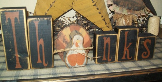 THANKS TURKEY PRIMITIVE THANKSGIVING BLOCK SIGN SIGNS
