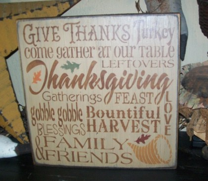 THANKSGIVING TYPOGRAPHY PRIMITIVE SIGN SIGNS