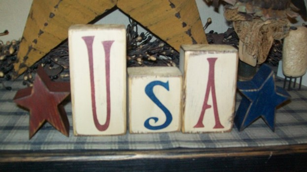 *U S A* STARS PRIMITIVE BLOCK SIGN SIGNS