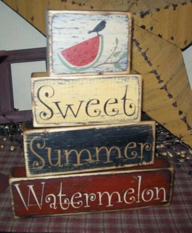 SWEET SUMMER WATERMELON PRIMITIVE BLOCK SIGN SIGNS